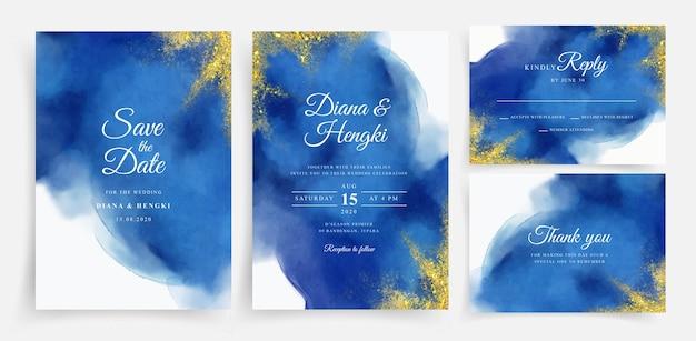 Acuarela hermosa tarjeta de boda con oro brillante Vector Premium