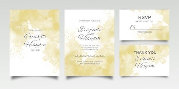 Acuarela hermosa tarjeta de boda con salpicaduras y líneas florales Vector Premium