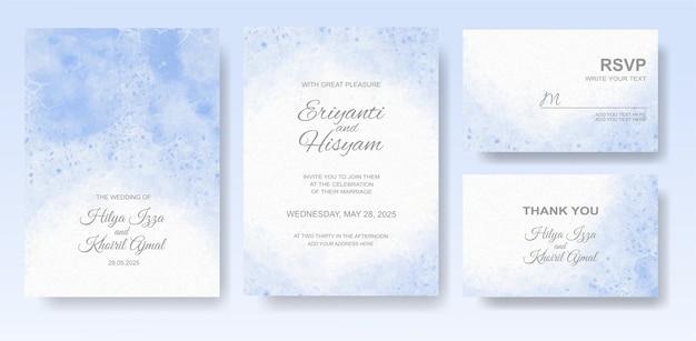 Acuarela hermosa tarjeta de boda con splash Vector Premium