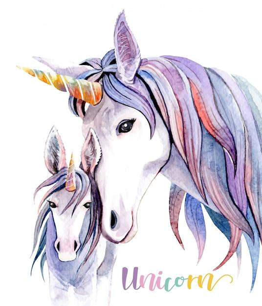 Acuarela ilustración mamá unicornio y bebé. Vector Premium
