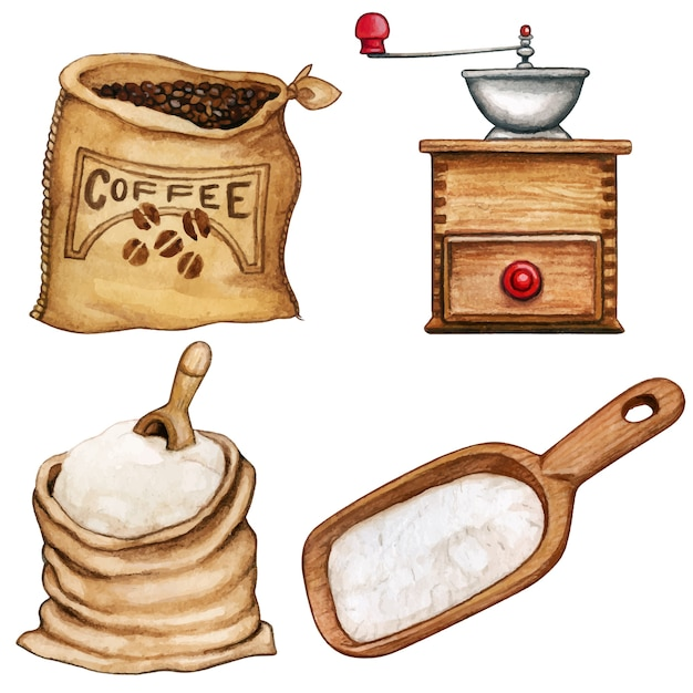 Acuarela ingredientes y herramientas de alta calidad café y harina. Vector Premium