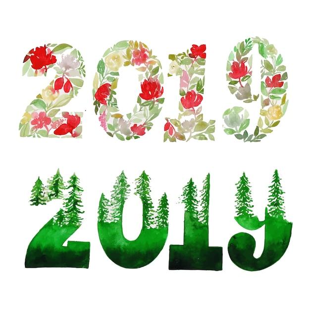 Acuarela de invierno y año nuevo, colección floral y hojas ...