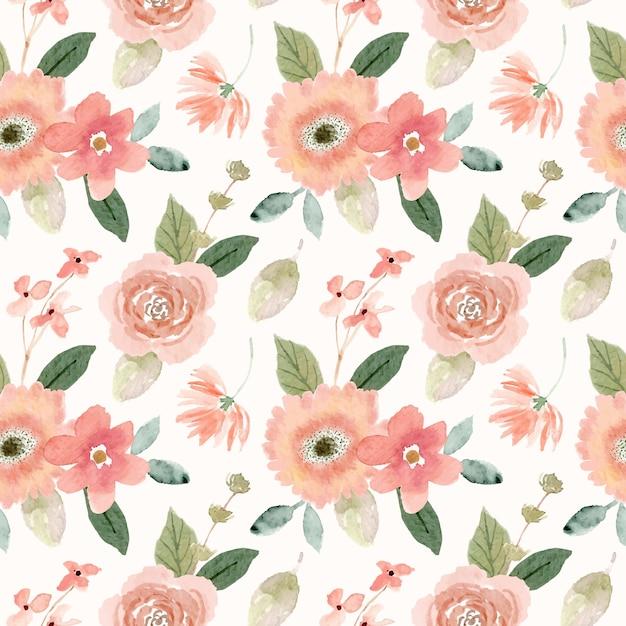 Acuarela melocotón floral de patrones sin fisuras Vector Premium