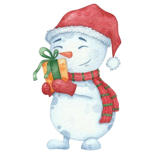 Acuarela muñeco de nieve en bufanda y sombrero con regalo. ilustración dibujada a mano de navidad Vector Premium