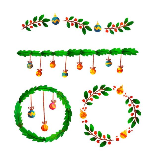 Acuarela navidad marcos y bordes vector gratuito