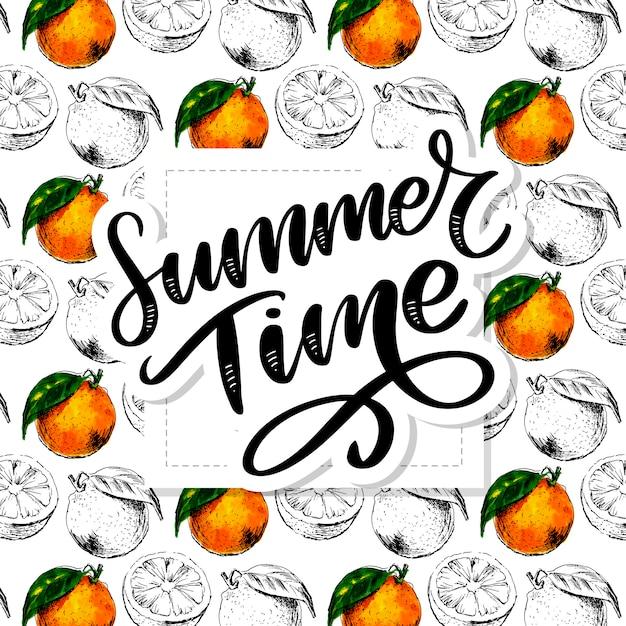 Acuarela de patrones sin fisuras de fruta naranja con hojas. ilustración de frutas cítricas de naranja. ilustración de comida ecológica lema de verano Vector Premium