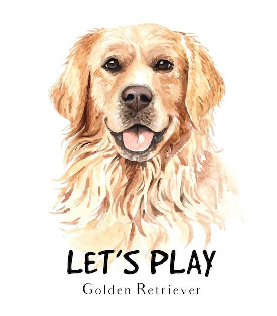 Acuarela de perro golden retriever para imprimir. Vector Premium