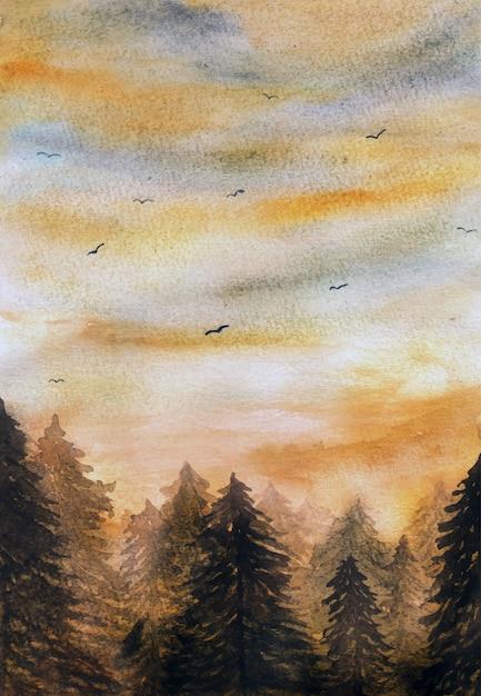 Acuarela puesta de sol en el fondo del bosque Vector Premium