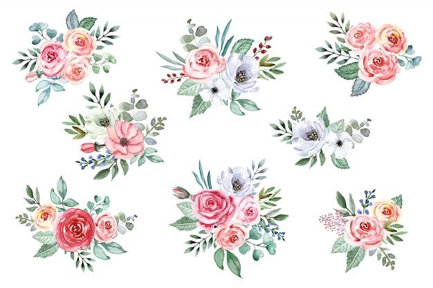 Acuarela ramo de flores colección. rosas suaves, peonías, flores de anémona, aisladas. Vector Premium