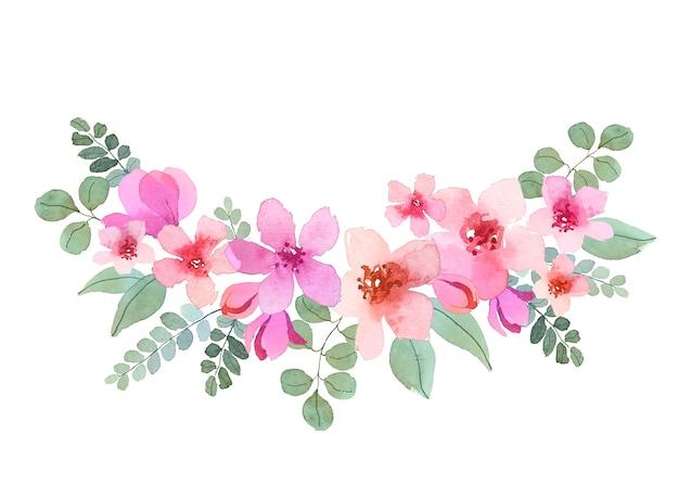 Acuarela ramo de flores hermosas vector gratuito