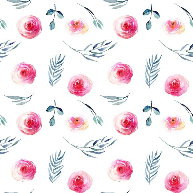 Acuarela Rosas Rojas Hojas Azules Y Ramas Descargar Vectores Premium
