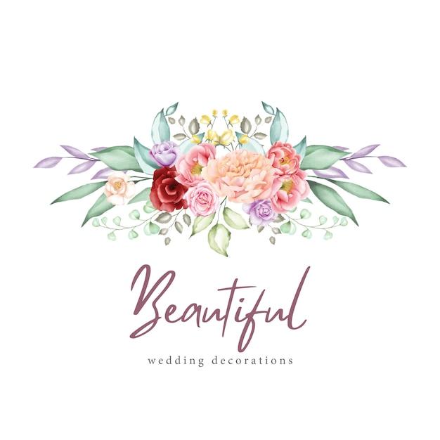Acuarela tarjeta de felicitación floral y plantilla de invitación Vector Premium
