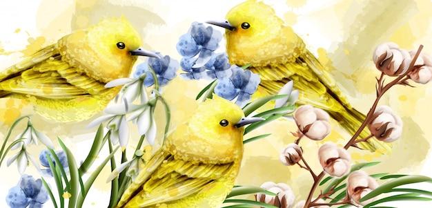 Acuarela tarjeta primavera con aves. Vector Premium