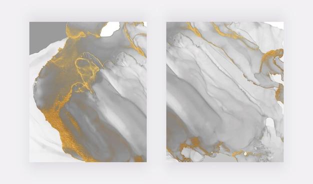 Acuarela de tinta de alcohol gris con textura de brillo dorado Vector Premium
