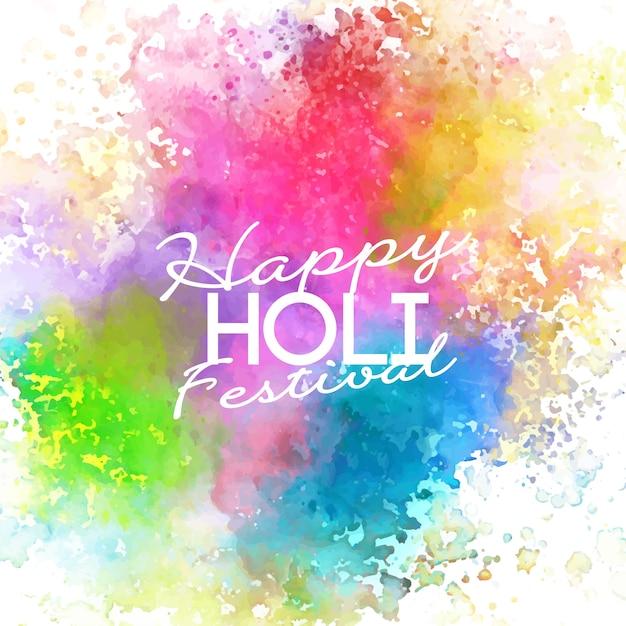 Acuarela vívida y colores pastel festival holi vector gratuito