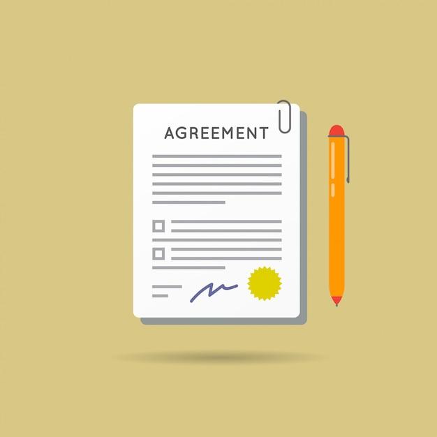 Acuerdo contrato y bolígrafo con firma Vector Premium