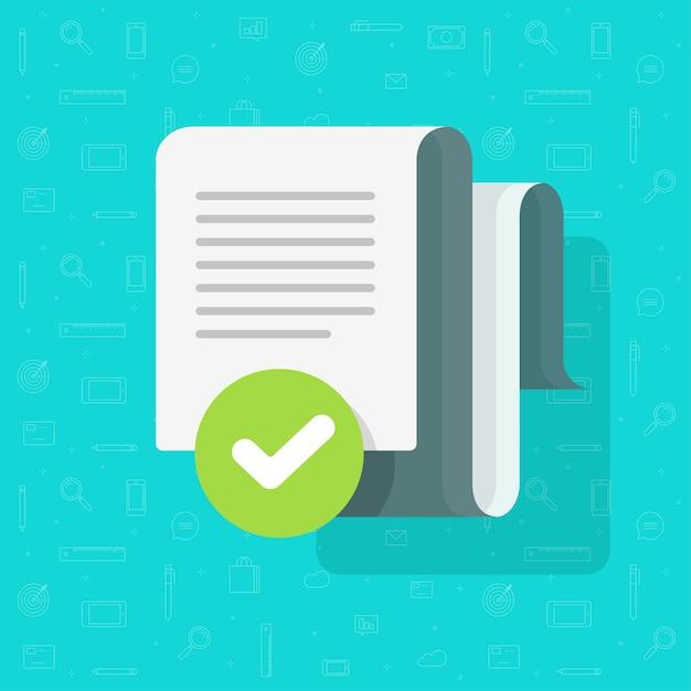 Acuerdo de documento y marca de verificación verificada, archivo de texto aprobado marca de verificación tick cartoon Vector Premium