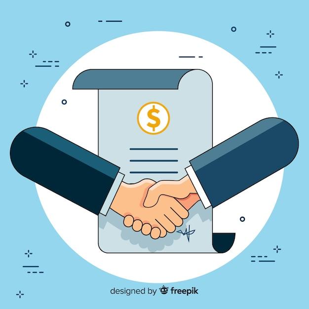 Acuerdo de negocios estrechándose la mano vector gratuito