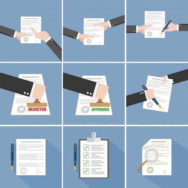Acuerdo de vector: conjunto de contrato de firma a mano Vector Premium