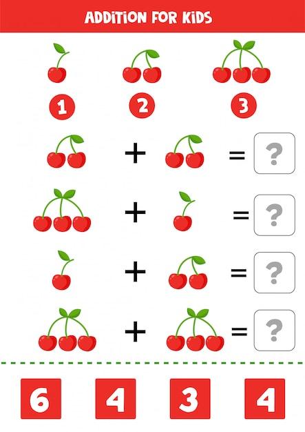 Además con cerezas de dibujos animados lindo. juego de matemáticas. Vector Premium
