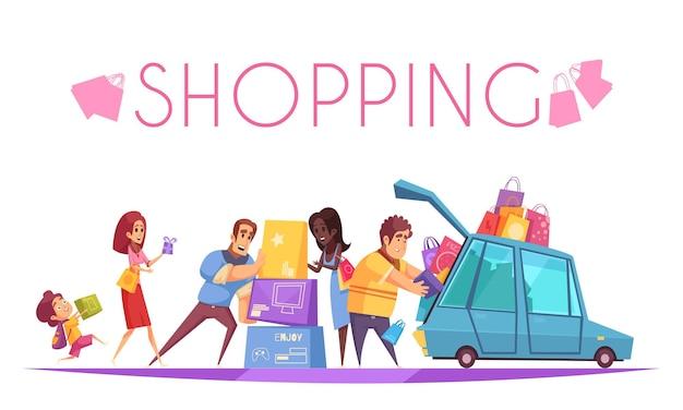 Adicta a las compras con texto y vista de personajes de dibujos animados que ponen cajas de colores en el automóvil vector gratuito
