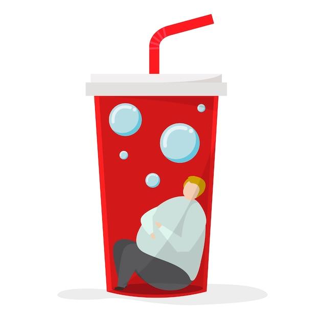 Adicto a las bebidas dulces y al azúcar. vector gratuito