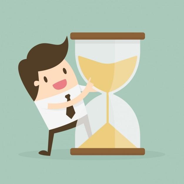 Administración del tiempo con reloj de arena y trabajador vector gratuito