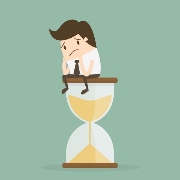 Administración de tiempo con trabajador sobre reloj de arena vector gratuito