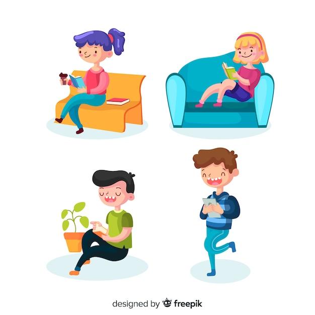Adolescentes leyendo en diferentes lugares vector gratuito