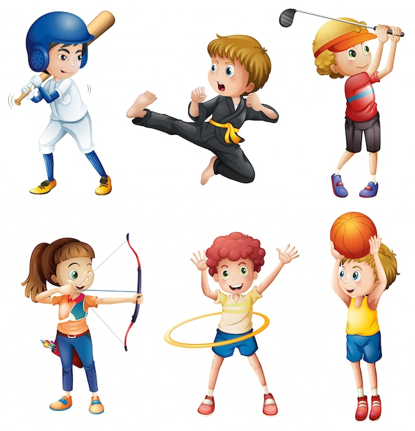 Adolescentes participando en diferentes actividades. vector gratuito