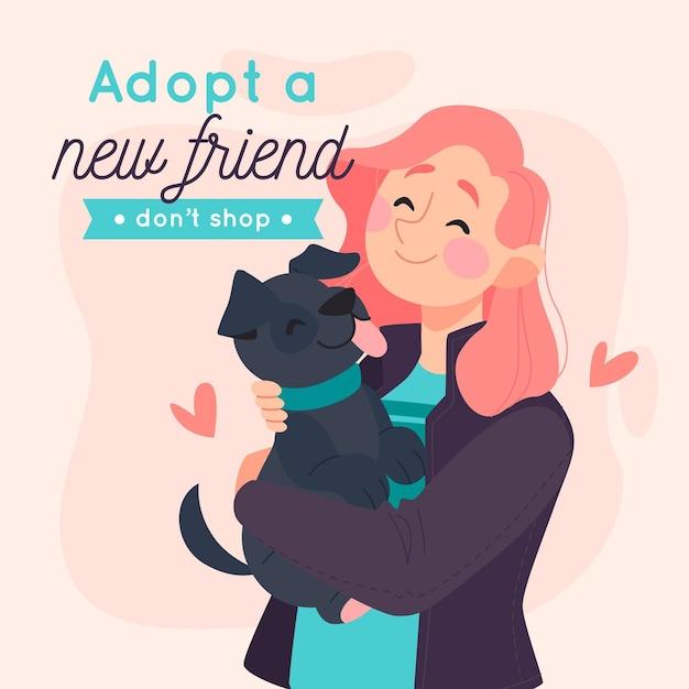 Adopta un concepto de mascota vector gratuito