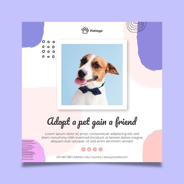 Adopta un cuadrado de flyer para mascotas vector gratuito