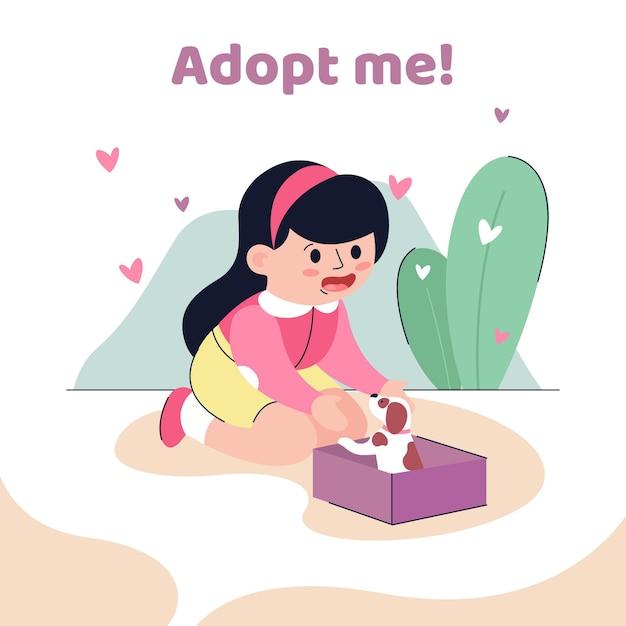 Adopta una mascota que lleva un cachorro vector gratuito
