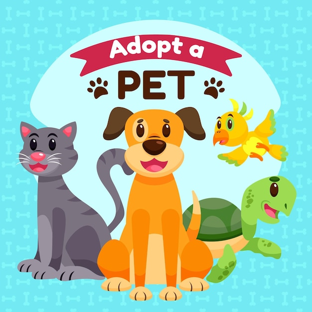 Adopta una mascota con tortuga y perro vector gratuito