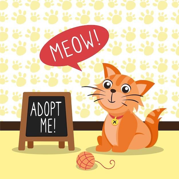 Adopta un mensaje de concepto de mascota con gato ilustrado Vector Premium