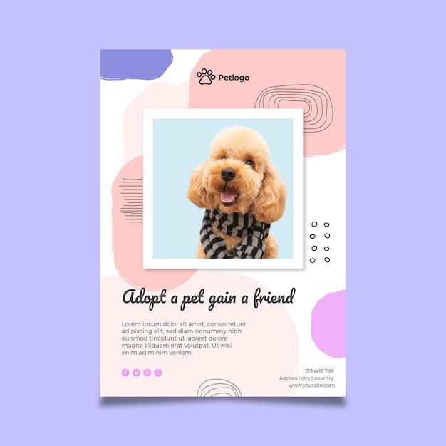 Adopta un póster de mascota con lindos animales vector gratuito