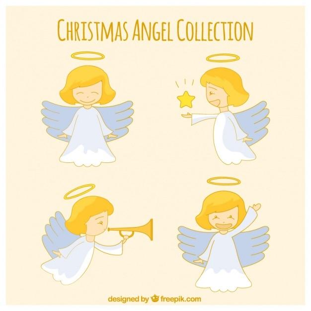 Adorable ángel dibujado a mano en diferentes posturas vector gratuito