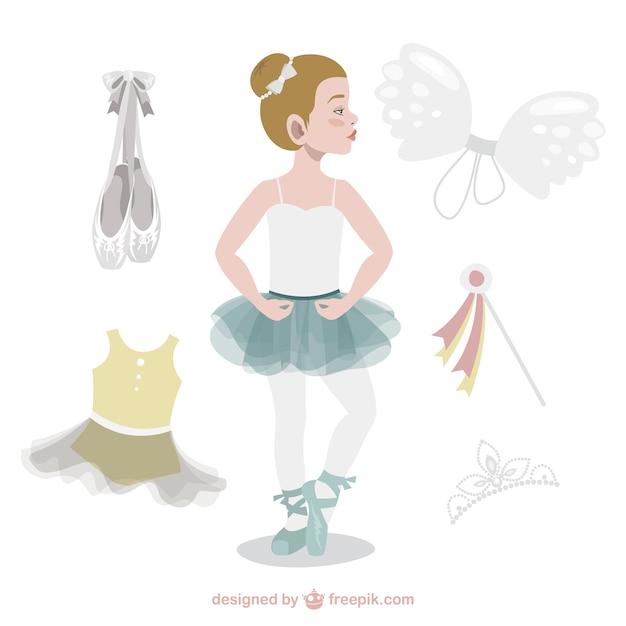 Adorable bailarina con accesorios vector gratuito