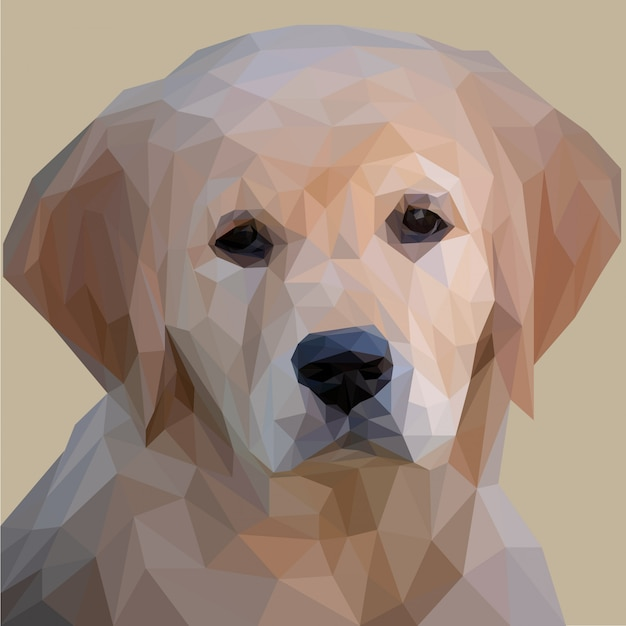 Adorable cachorro lowpoly art Vector Premium