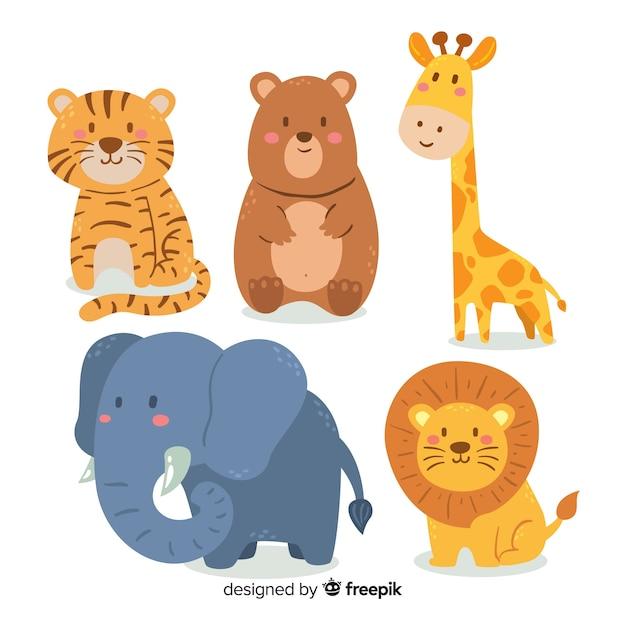 Adorable colección de animales vector gratuito