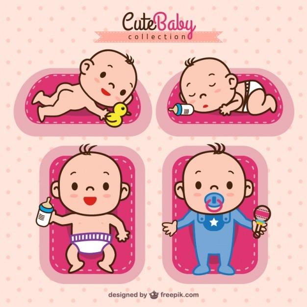 Adorable colección de bebés vector gratuito