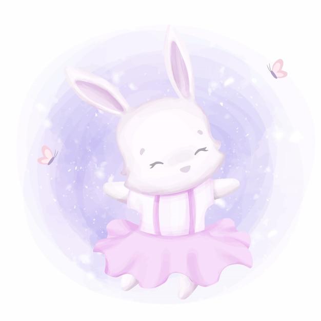 Adorable conejito bailando como bailarina Vector Premium