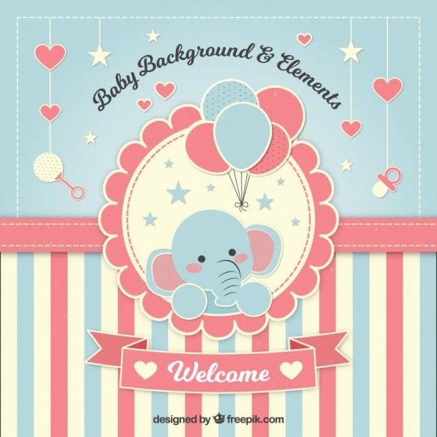 Adorable fondo de bienvenida de bebé con un elefante Vector Premium