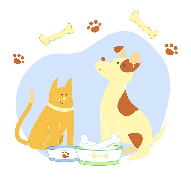 Adorable gato y cachorro Vector Premium