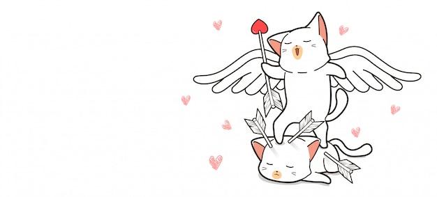 Adorable gato cupido tiene flecha Vector Premium