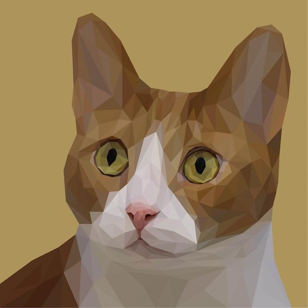 Adorable gato lowpoly art Vector Premium