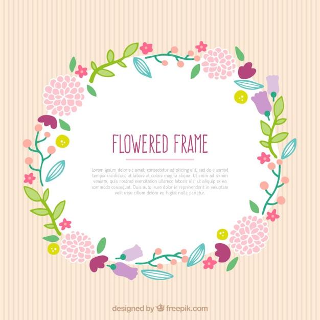 Adorable marco redondo con flores y hojas | Descargar Vectores gratis