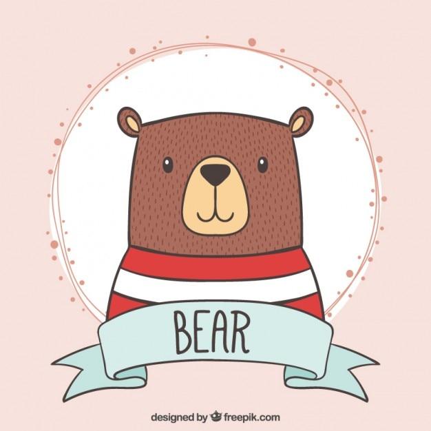 Adorable oso con una camiseta de rayas dibujado a mano vector gratuito