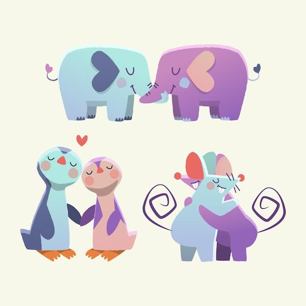 Adorable pareja de animales del día de san valentín vector gratuito