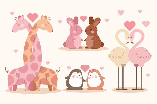 Adorable pareja de animales de san valentín vector gratuito